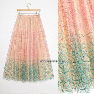 HTF NWT ANTHROPOLOGIE Three-Tone Embroidered Skirt